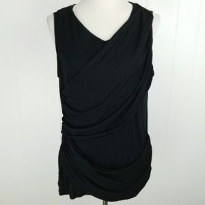 SOLD CAbi 261 Black Mix Double Drape Stretch Tank